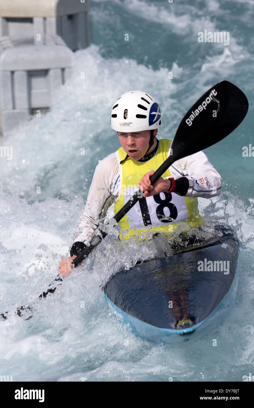 Louise Revell, Semi-Final  K1 Women's GB Canoe Slalom 2014 Selection Trials Lee Valley White Water Centre, London, UK - Stock Image