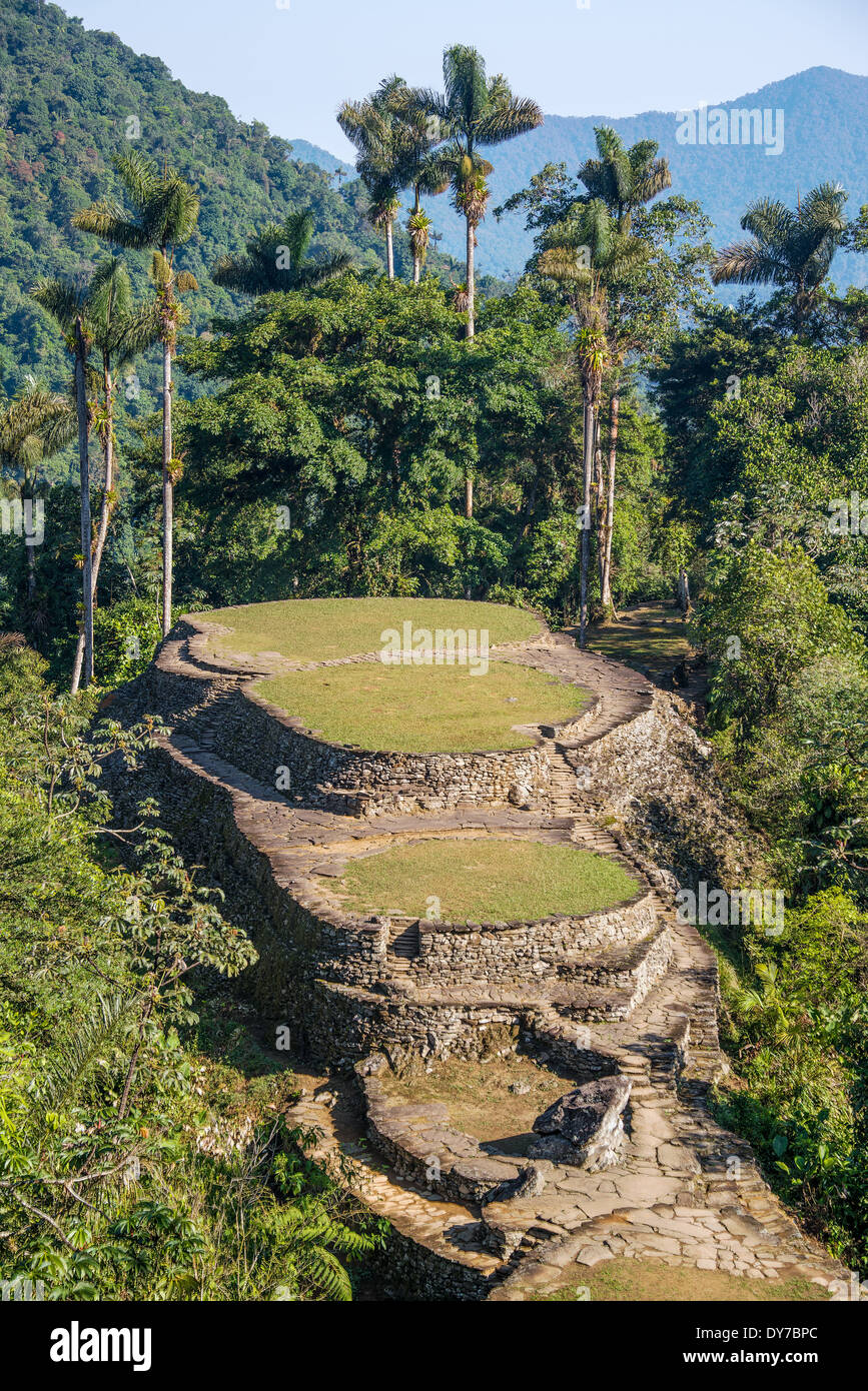 The Ciudad Perdida, or Lost City in the Sierra Nevada de Santa Marta in Colombia - Stock Image