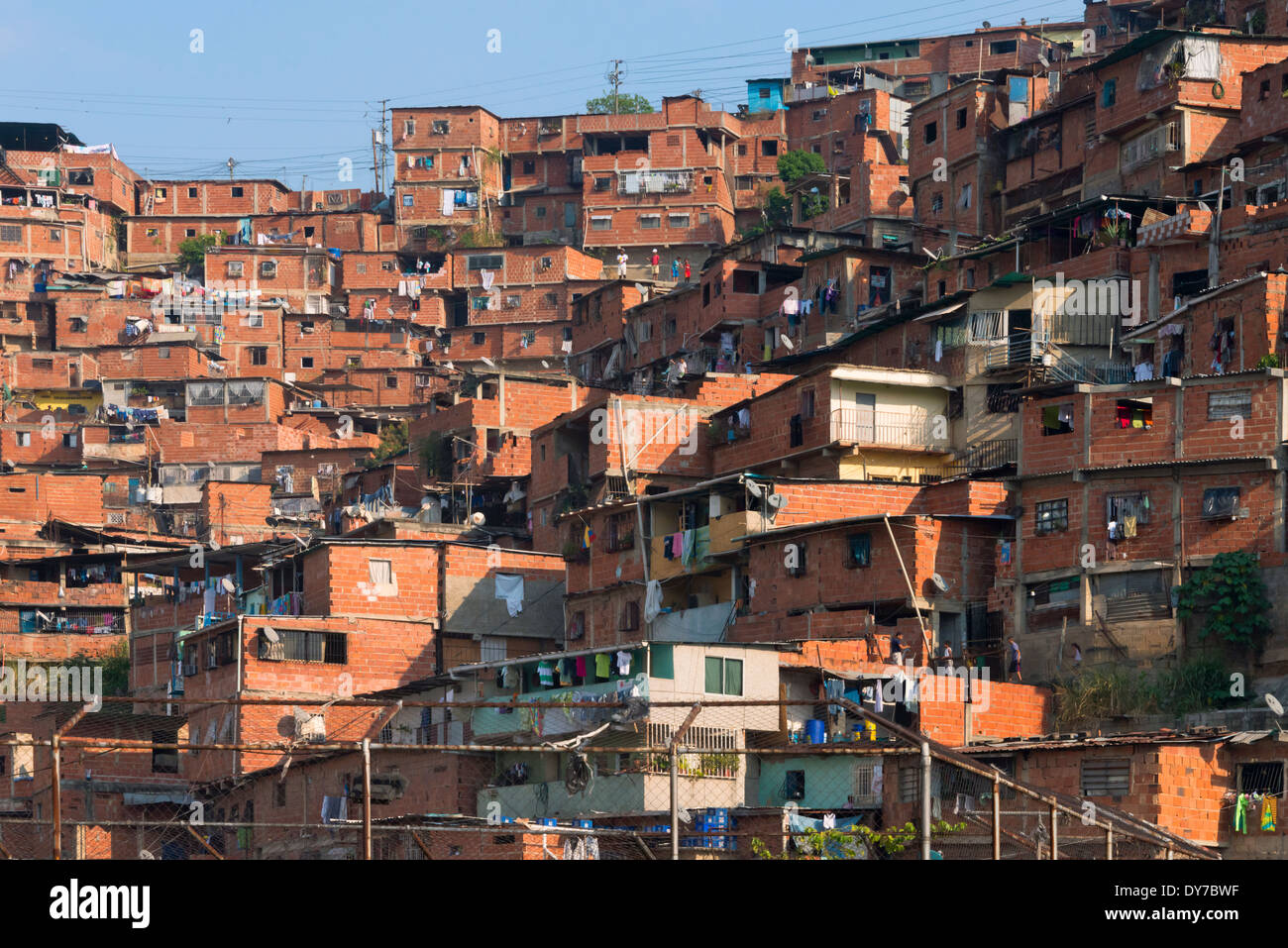 Barrios, slums of Caracas on the hillside, Caracas, Venezuela - Stock Image