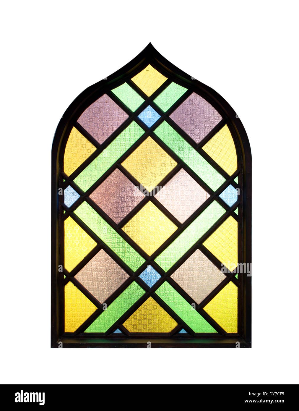 Multi-colored glass window isolated on white background. - Stock Image