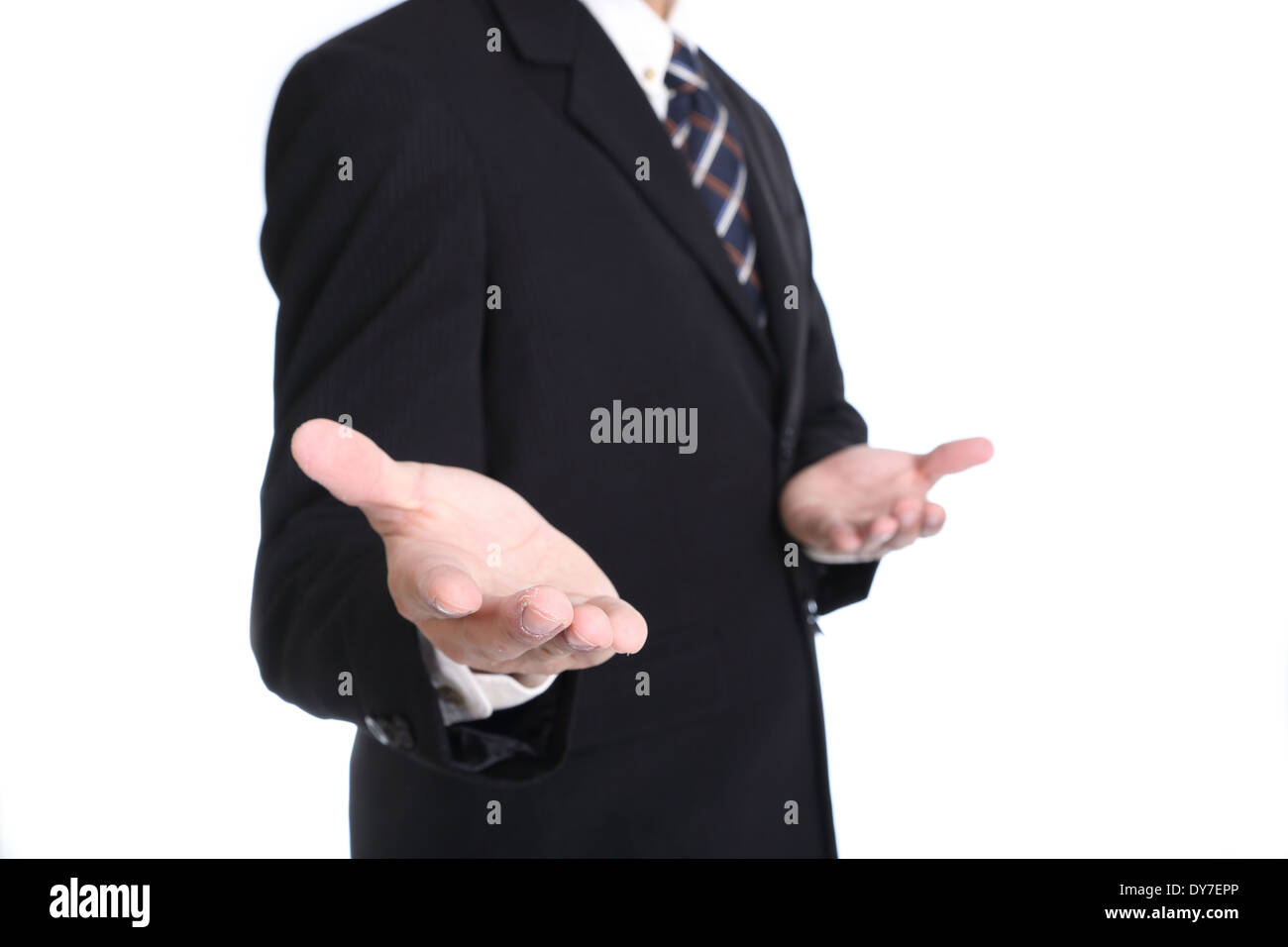 Businessman use entry hand for your add something for show with white background - Stock Image