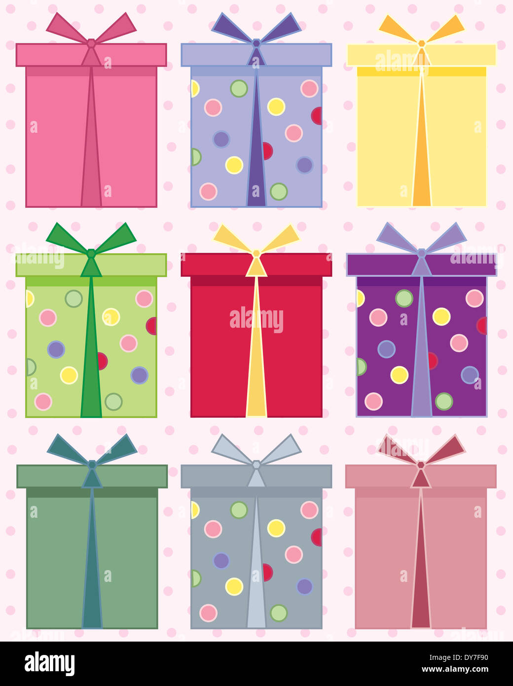 An Illustration Of Abstract Gift Boxes For Birthdays In Different Colors On A Pink Spotty Background