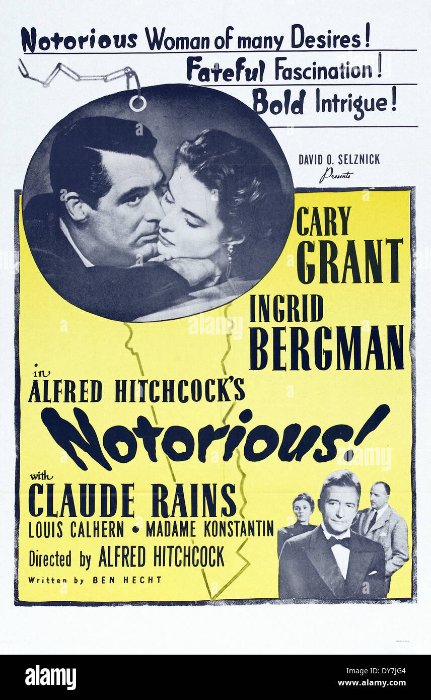 NOTORIOUS - Movie Poster - Directed by Alfred Hitchcock - RKO - 1946 - Stock Image