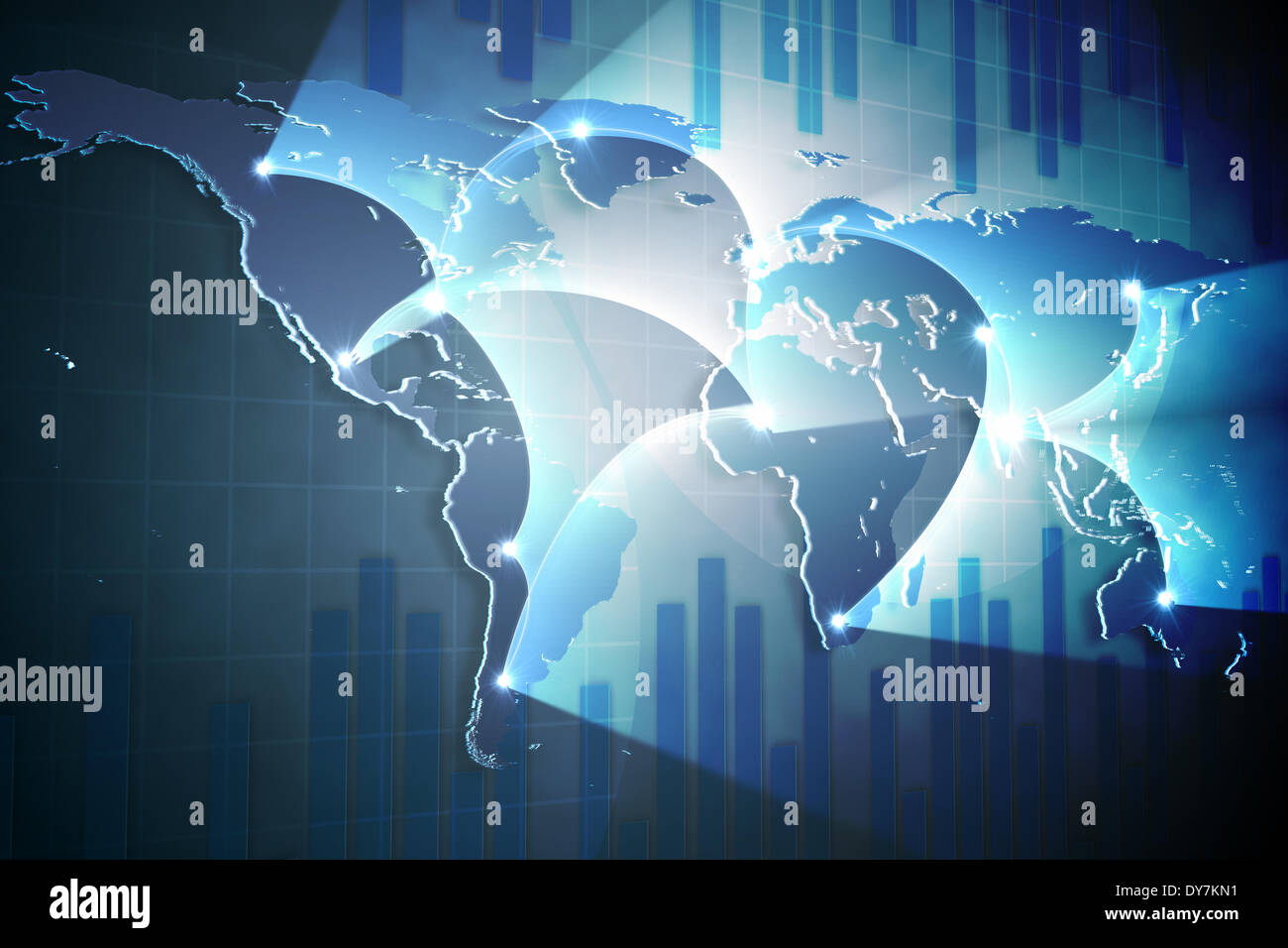 Global business graphic in blue - Stock Image