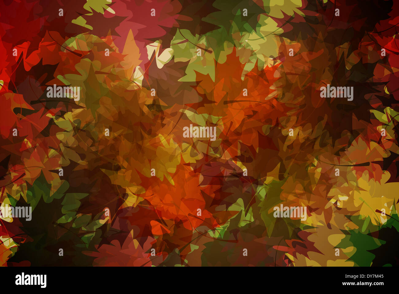 Autumnal leaf pattern in warm tones - Stock Image