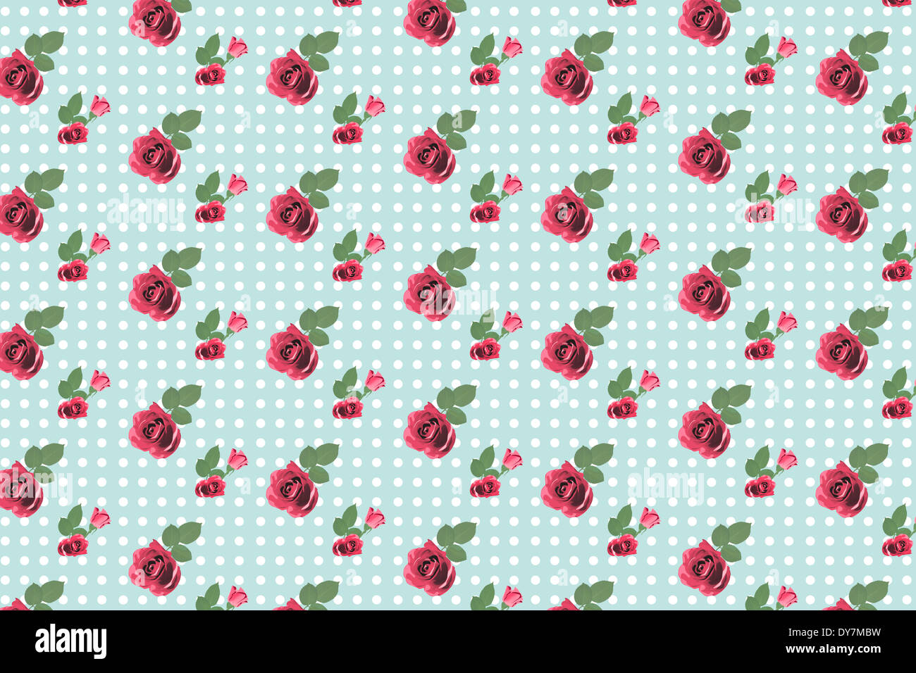 Kitsch floral pattern wallpaper with roses - Stock Image