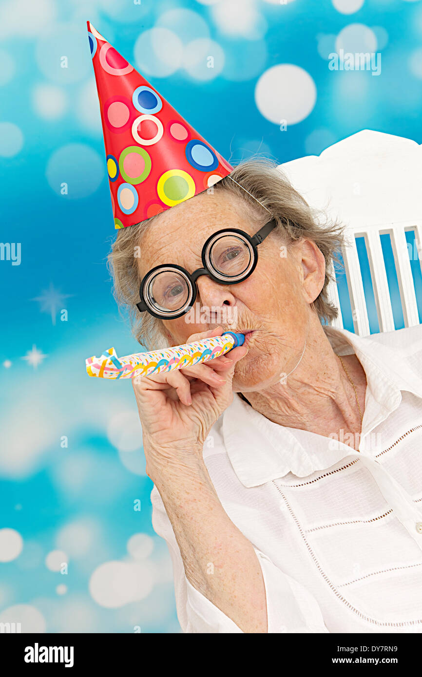 Disguised elderly person Stock Photo