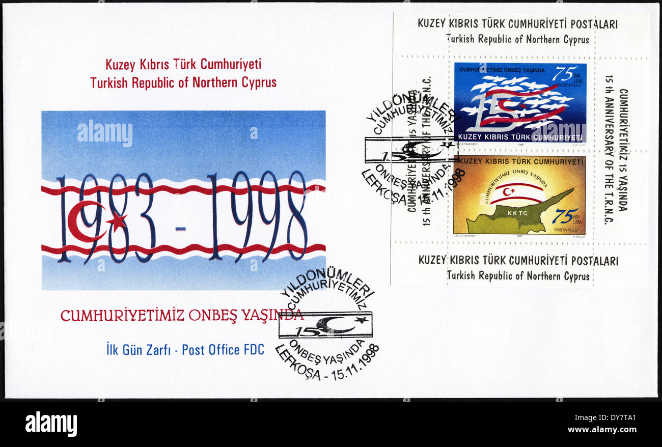 Commemorative first day cover Turkish Republic of Northern Cyprus postage stamps postmarked 15th November 1998 - Stock Image