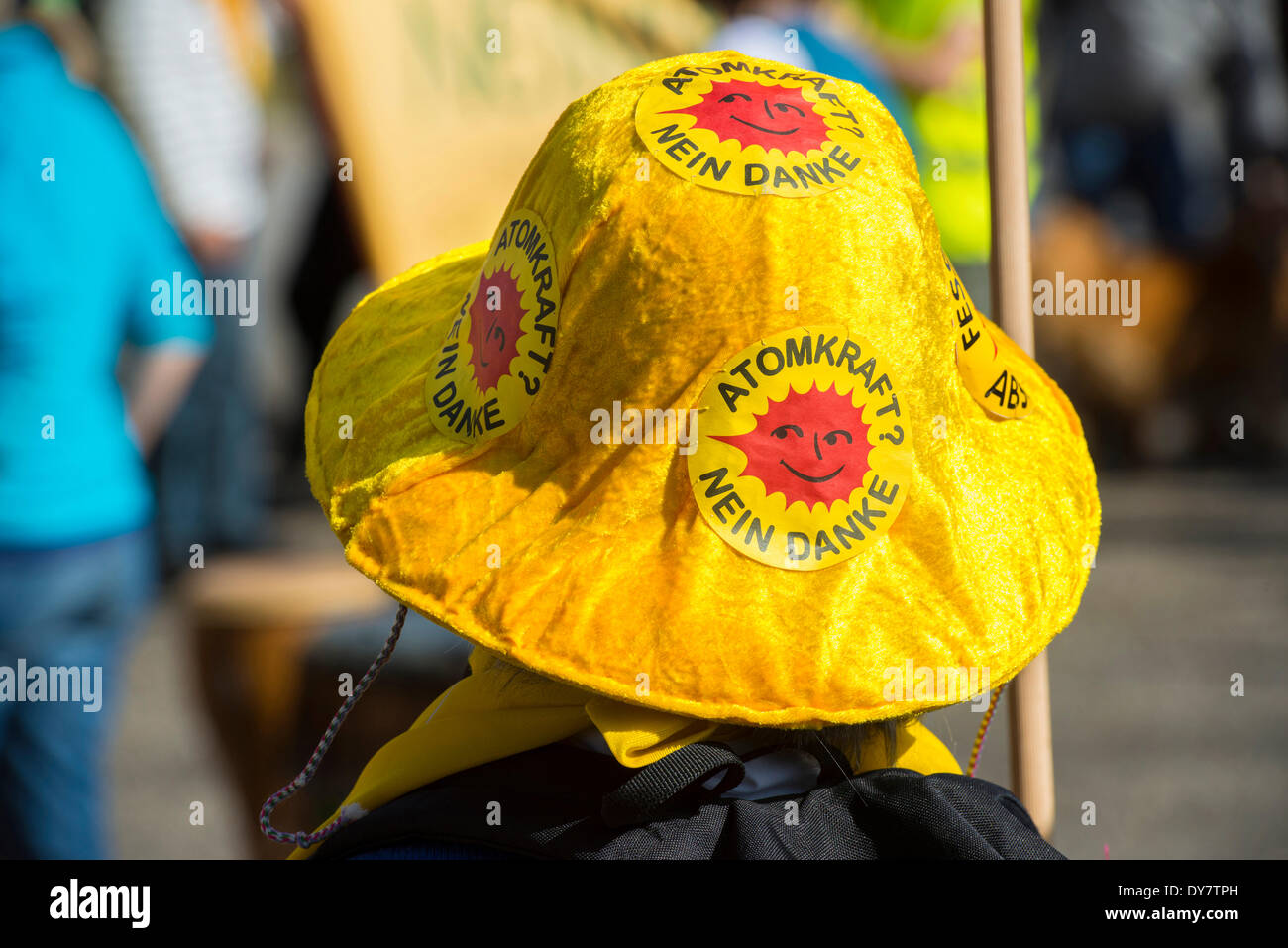 Anti-nuclear demonstration on the 3rd anniversary of the Fukushima nuclear disaster, at Fessenheim nuclear power plant - Stock Image