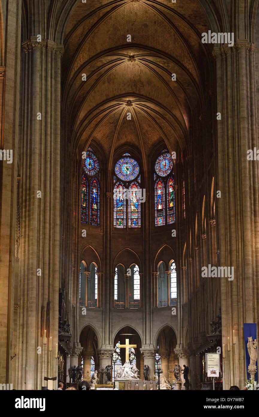 Choir, altar, nave, Notre-Dame de Paris, Ile de la Cité, Paris, Ile-de-France, France - Stock Image