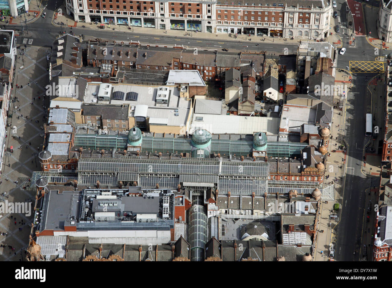 aerial view of the Victorian Quarter of Leeds with County Arcade and Thornton's Arcade which run between Briggate & Vicar Lane - Stock Image