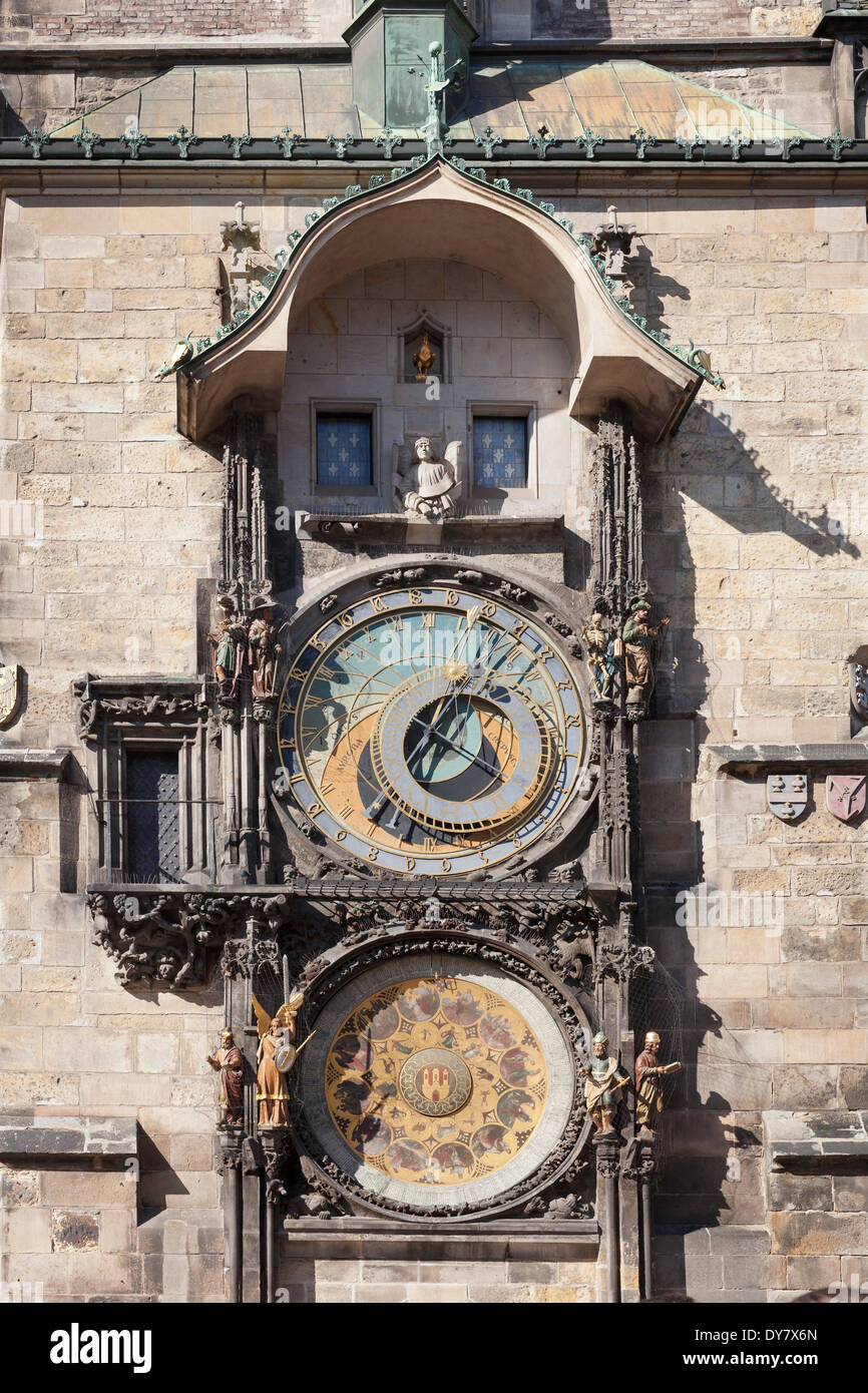 Astronomical Clock on the Old Town City Hall, Prague, Bohemia, Czech Republic - Stock Image