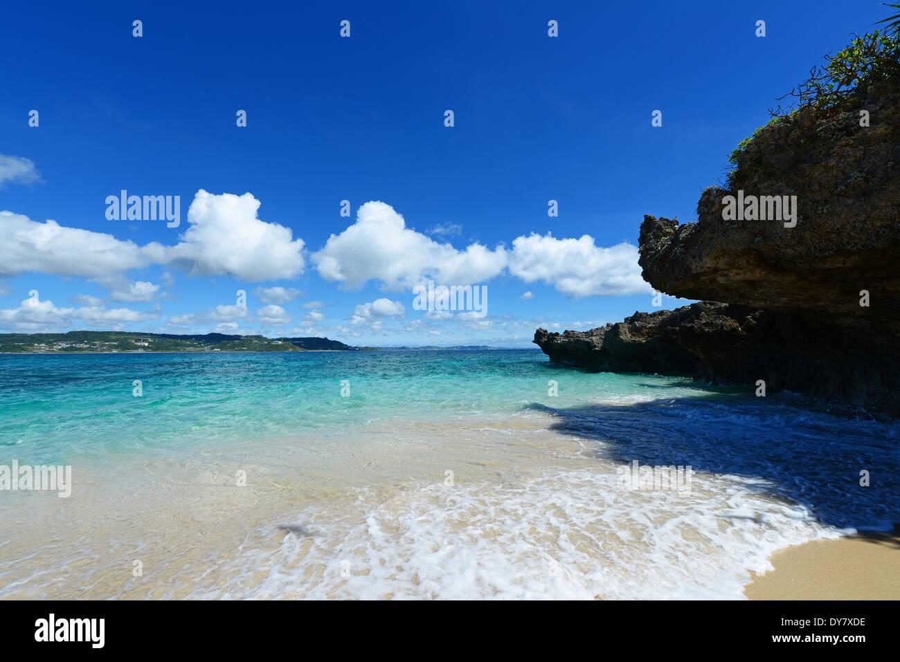Beautiful beach in Okinawa - Stock Image