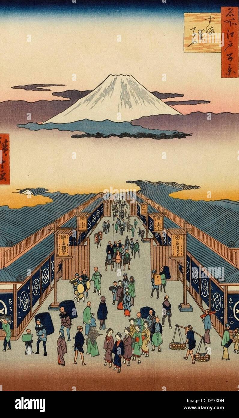 Utagawa Hiroshige One Hundred Famous Views of Edo - No. 8 Suruga-cho - Stock Image