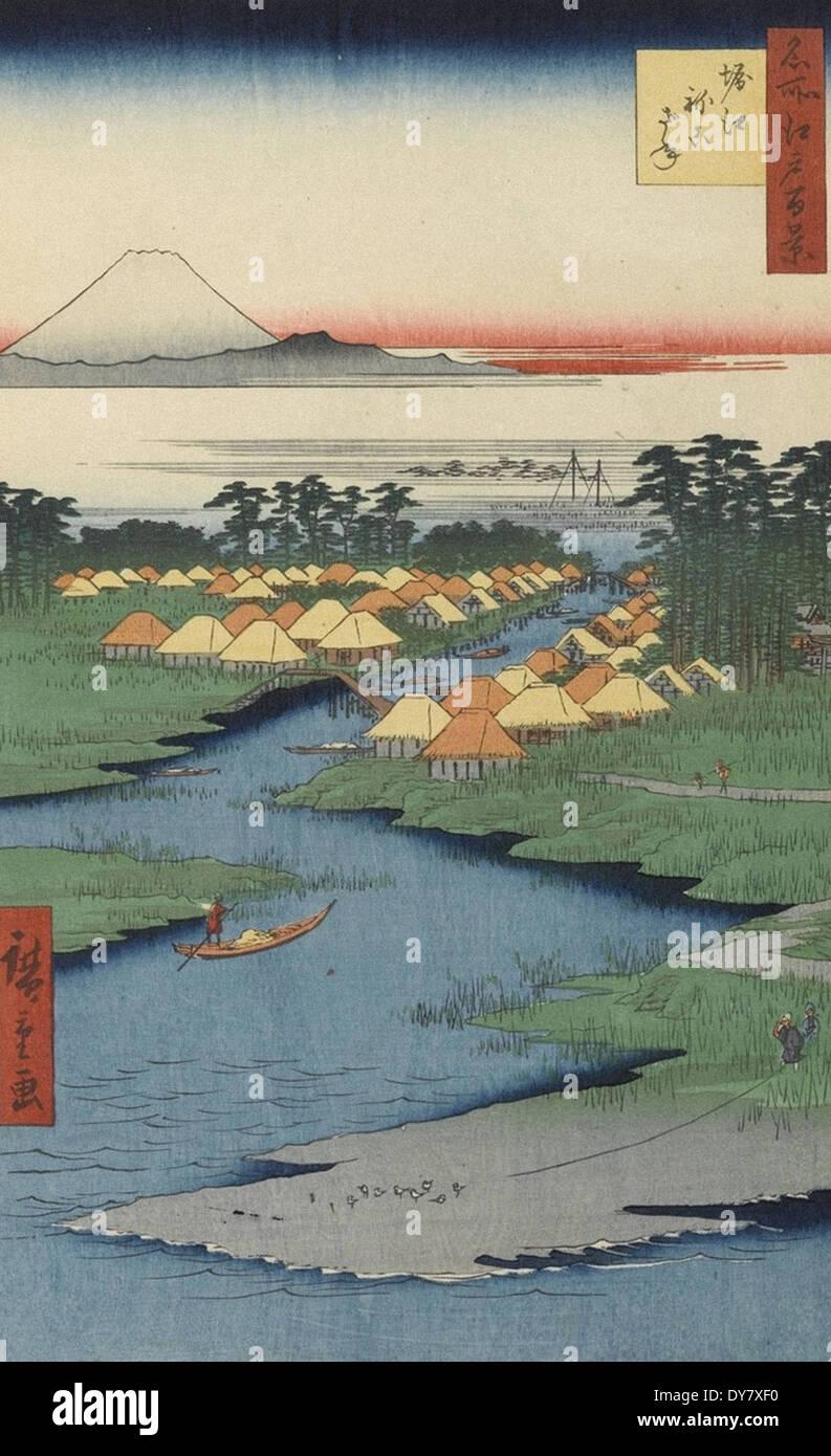 Utagawa Hiroshige One Hundred Famous Views of Edo - No. 96 Horie and Nekozane - Stock Image