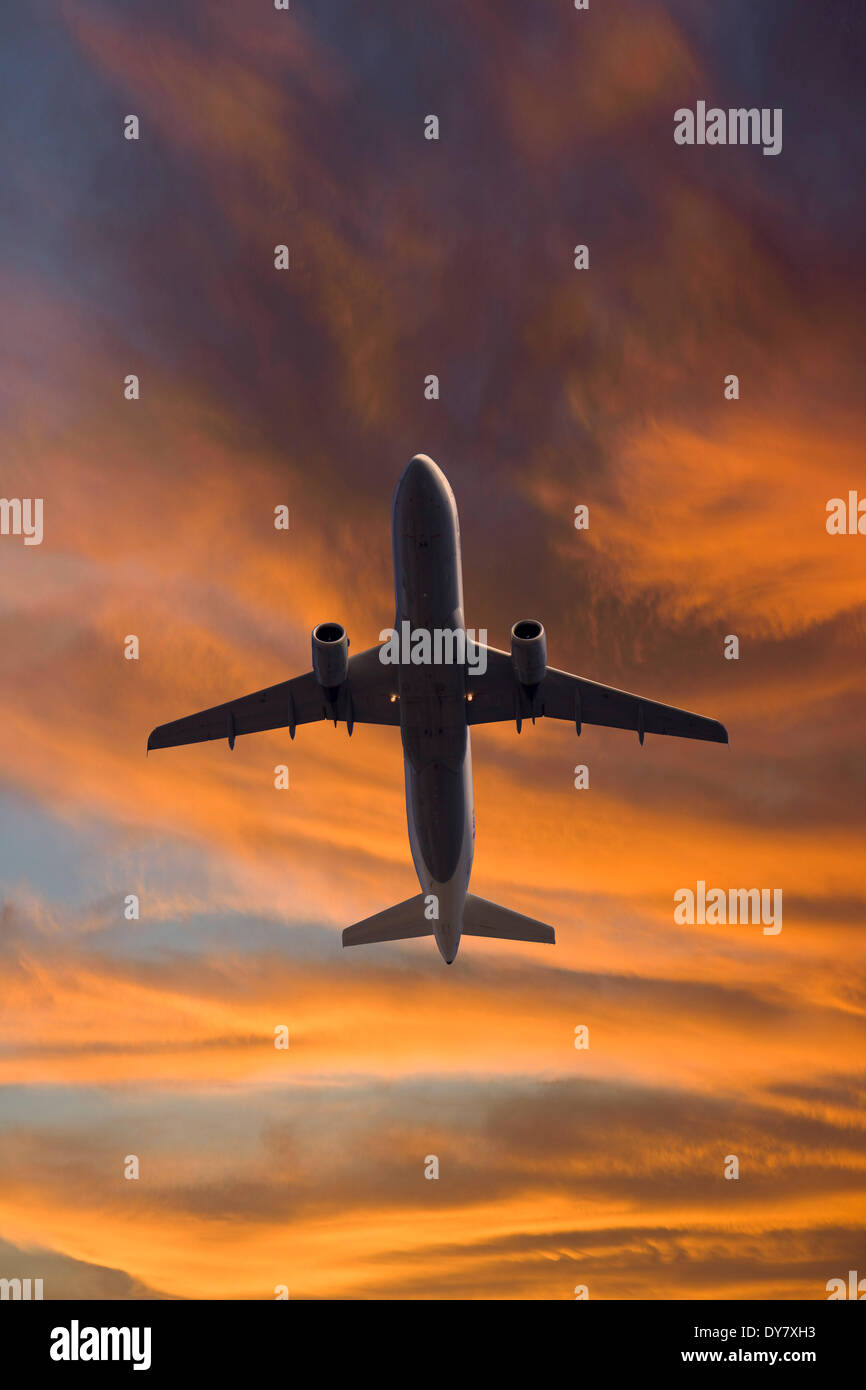Lufthansa Airbus in flight, from below - Stock Image