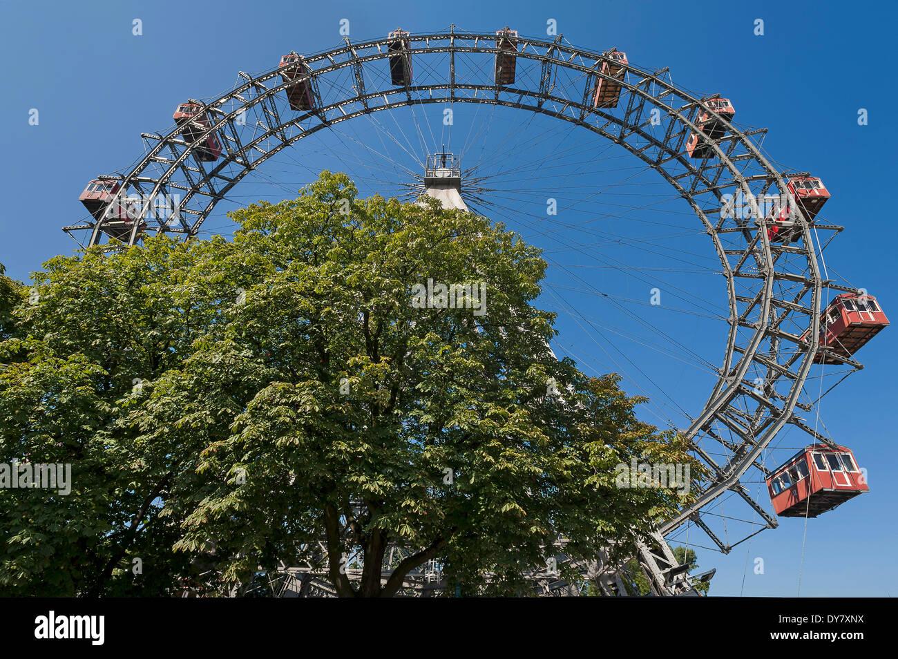 Wiener Riesenrad ferris wheel against a blue sky at the Prater, Vienna, Austria - Stock Image