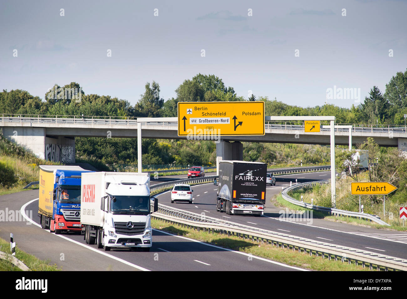 Truck traffic on a four-lane national highway, Germany - Stock Image