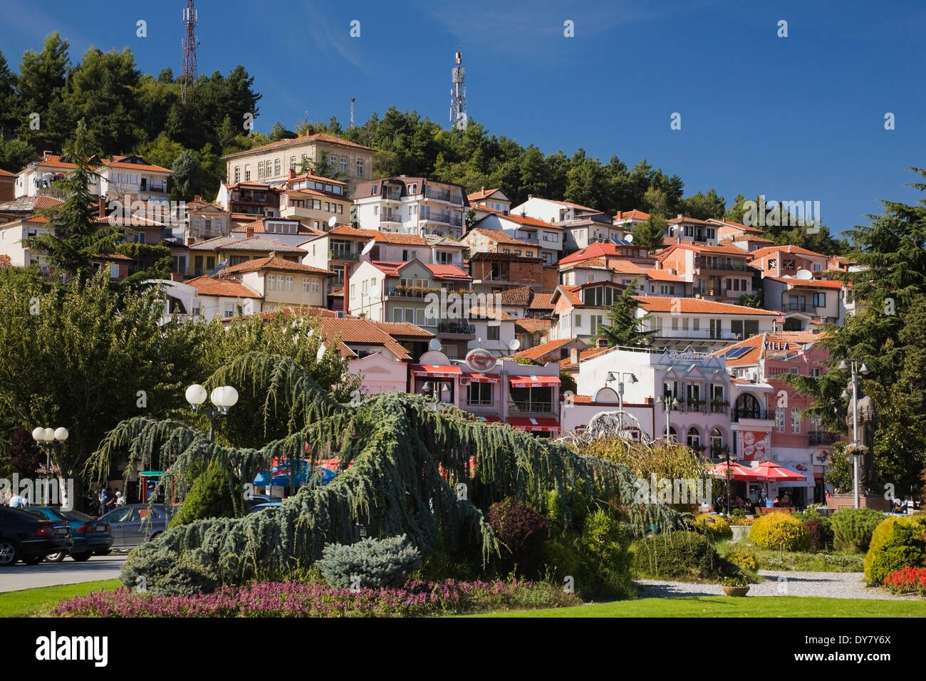 Residential buildings, Ohrid, Macedonia - Stock Image