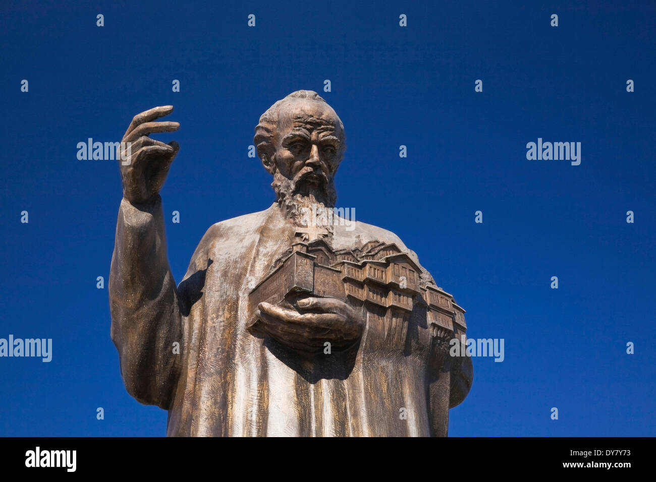 Bronze statue of St. Clement of Ohrid, Ohrid, Macedonia - Stock Image
