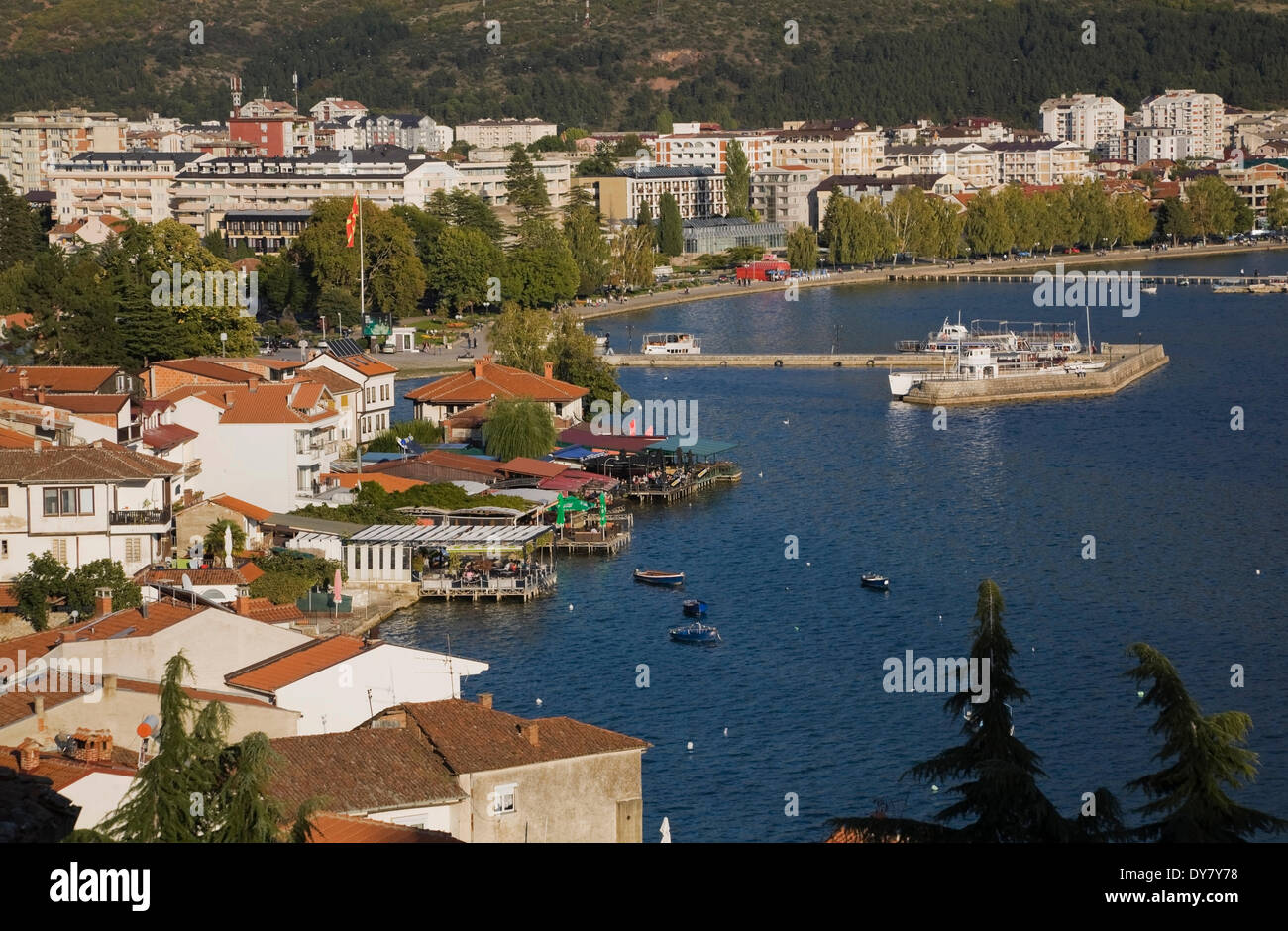 Residential buildings and Lake Ohrid, Ohrid, Macedonia - Stock Image