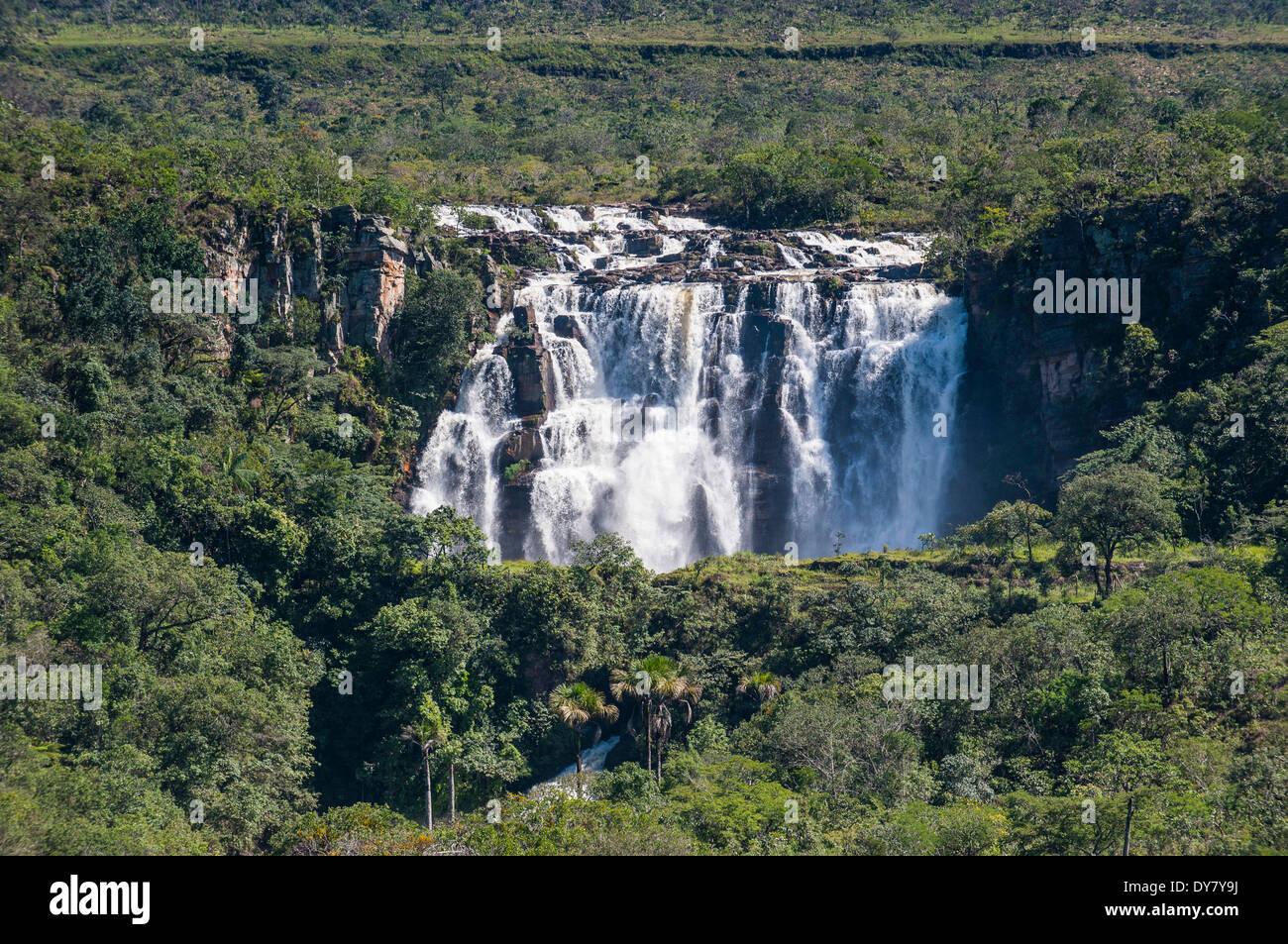 Corumba waterfalls, near Pirenópolis, Goiás, Brazil - Stock Image