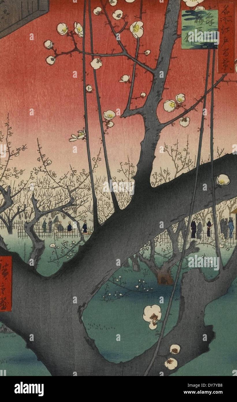 Utagawa Hiroshige One Hundred Famous Views of Edo - No. 30 Plum Estate, Kameido - Stock Image