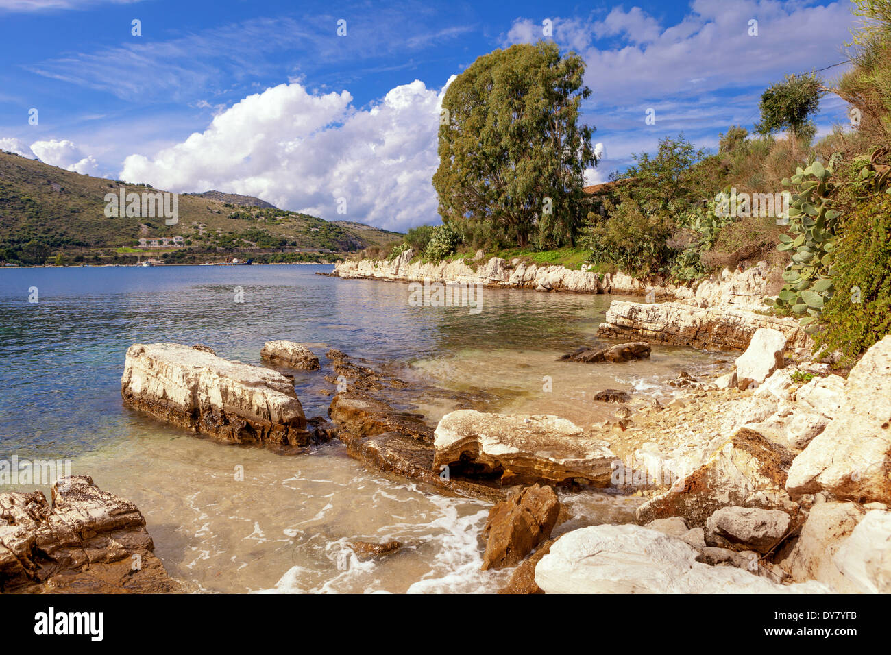 View of a picturesque cove on the Kassiopi peninsula on Corfu, Greece - Stock Image
