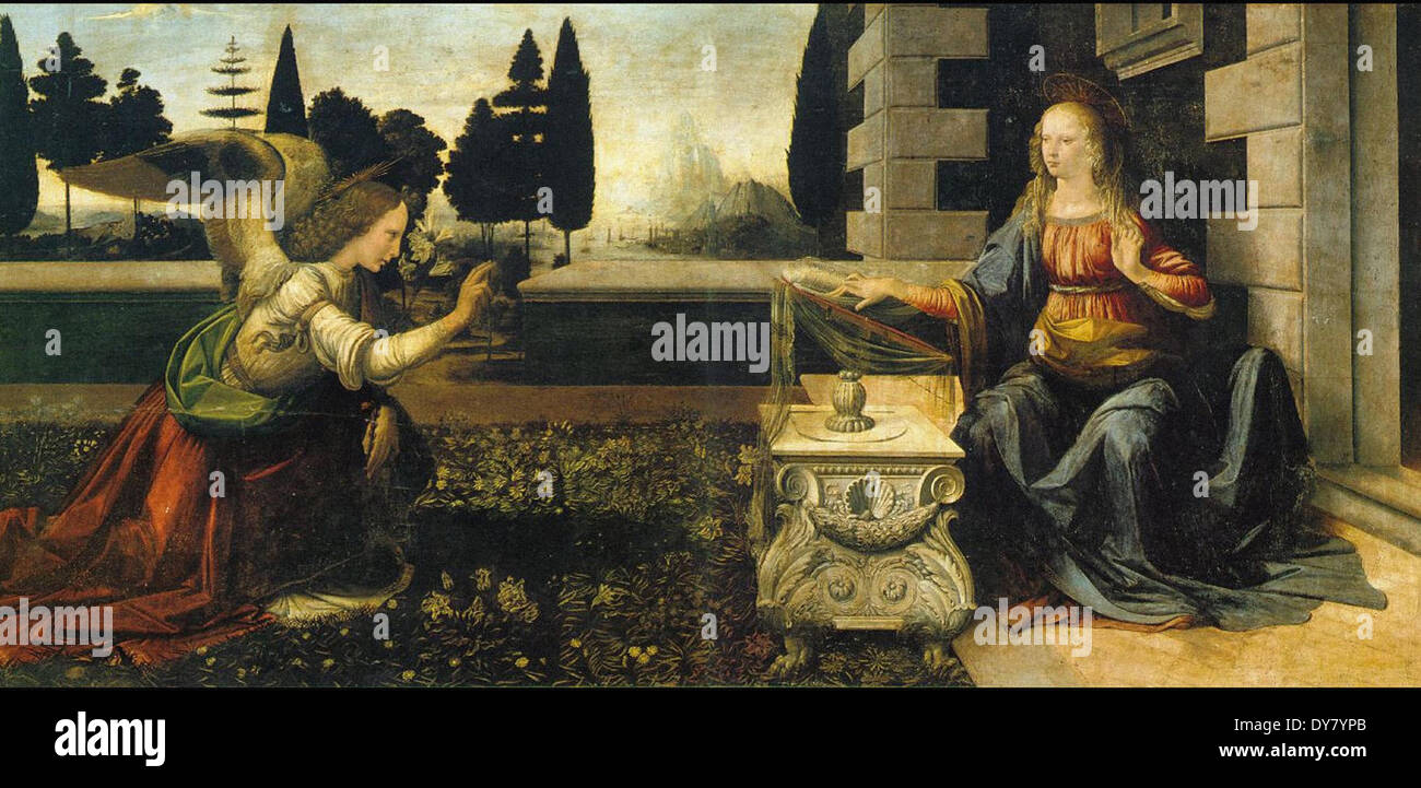 Leonardo da Vinci The Annunciation - Stock Image