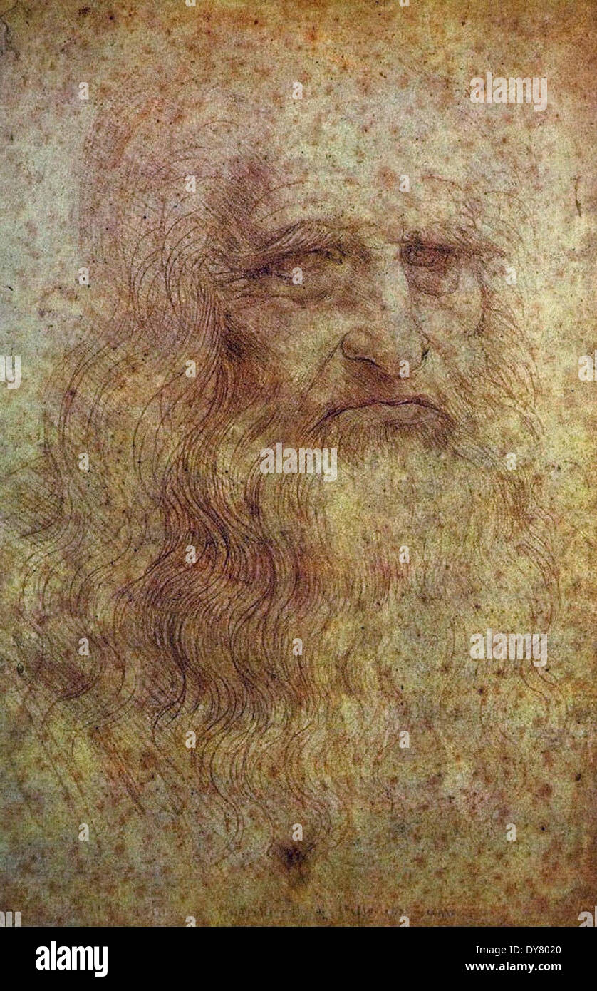 Leonardo da Vinci Self Portrait - Stock Image