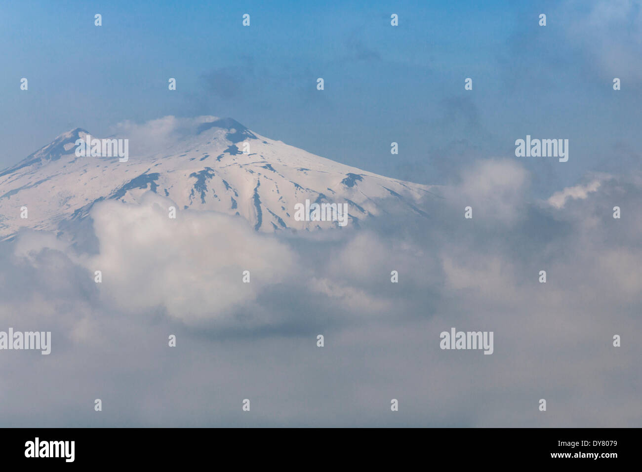 Mt Etna, enveloped by clouds, Sicily, Italy - Stock Image