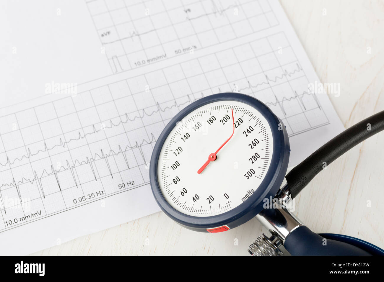 Blood pressure gauge with twisted needle, in the background a ecg, close up - Stock Image