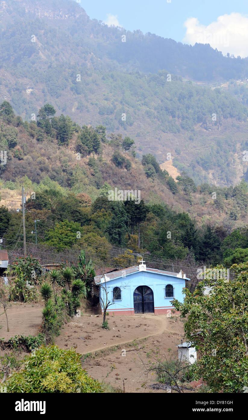 Small church on a wooded hillside. Pacorral,  Departamente de Sololá, Republic of Guatemala. - Stock Image