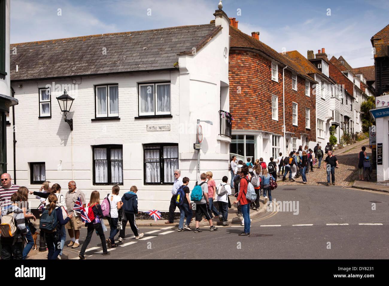 UK, England, East Sussex, Rye, party of French schoolchildren walking up Mermaid Street Stock Photo
