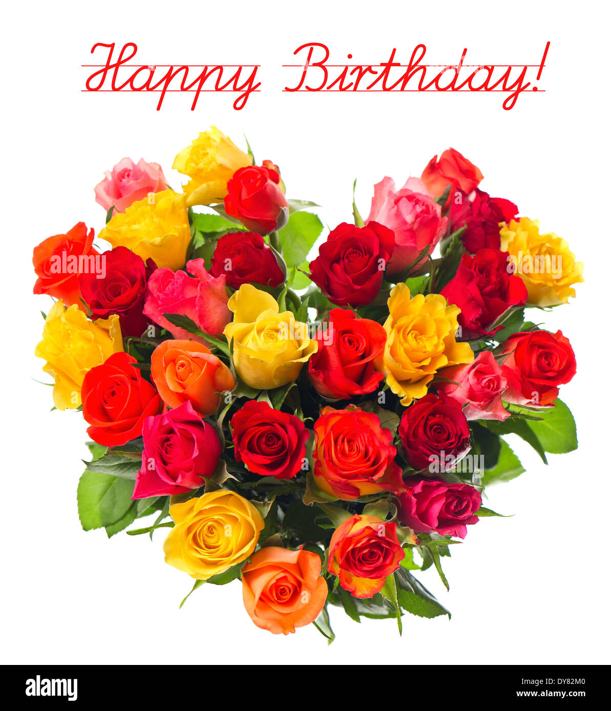 Birthday Roses Quotes: Happy Birthday! Card Concept, Bouquet Of Colorful Assorted