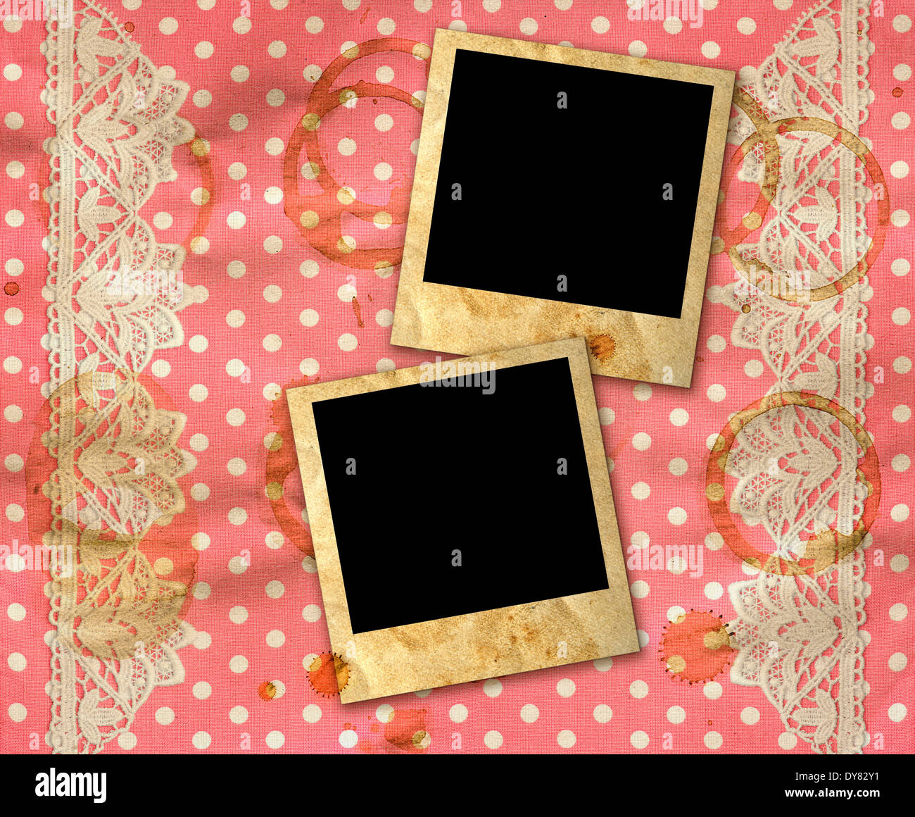 Two Old Photo Frames Over Dirty Pink White Polka Dot Background With