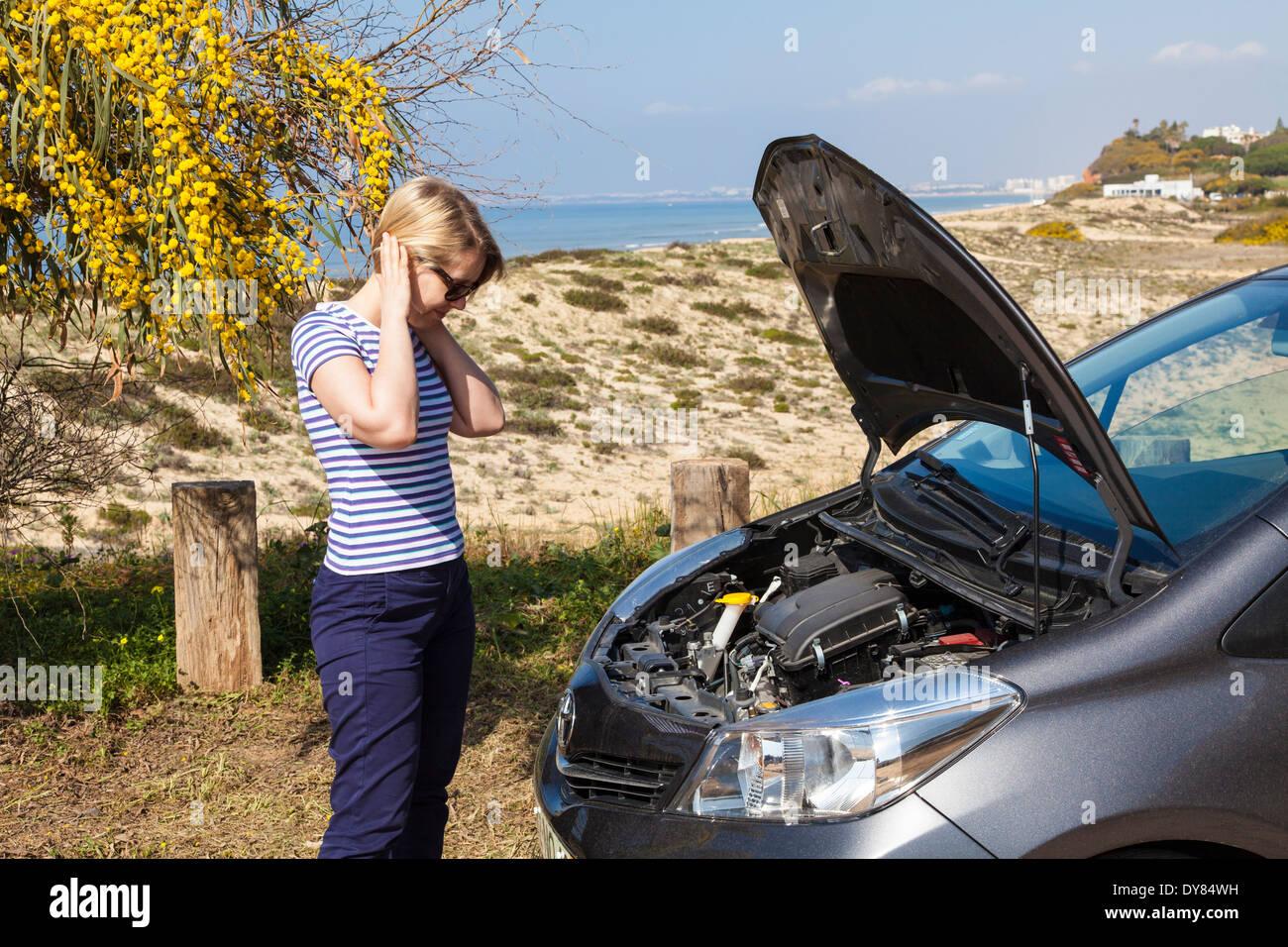 Holiday car breakdown - Stock Image