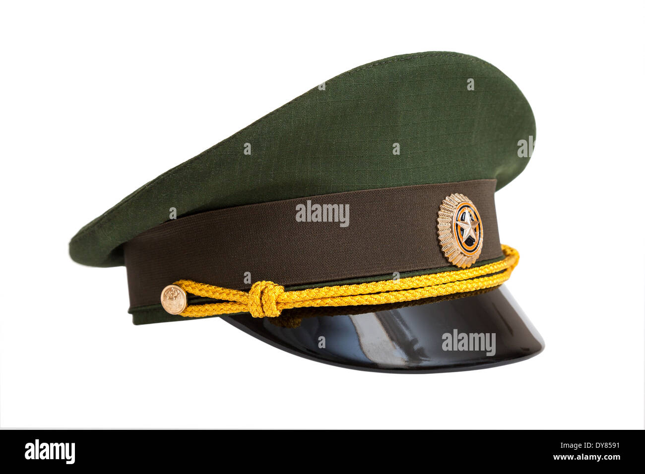 b87761546015f Cap of Russian army officer isolated on white background - Stock Image