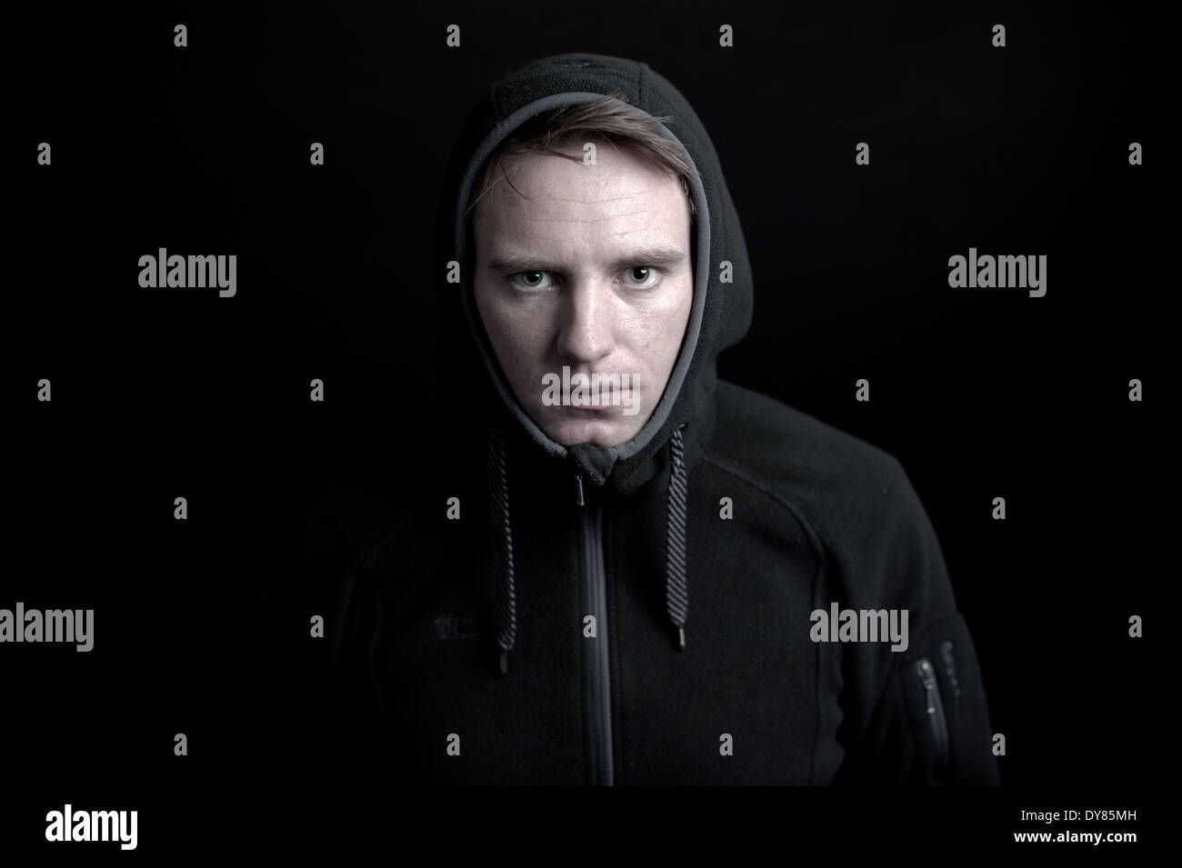 Young man with hood - Stock Image