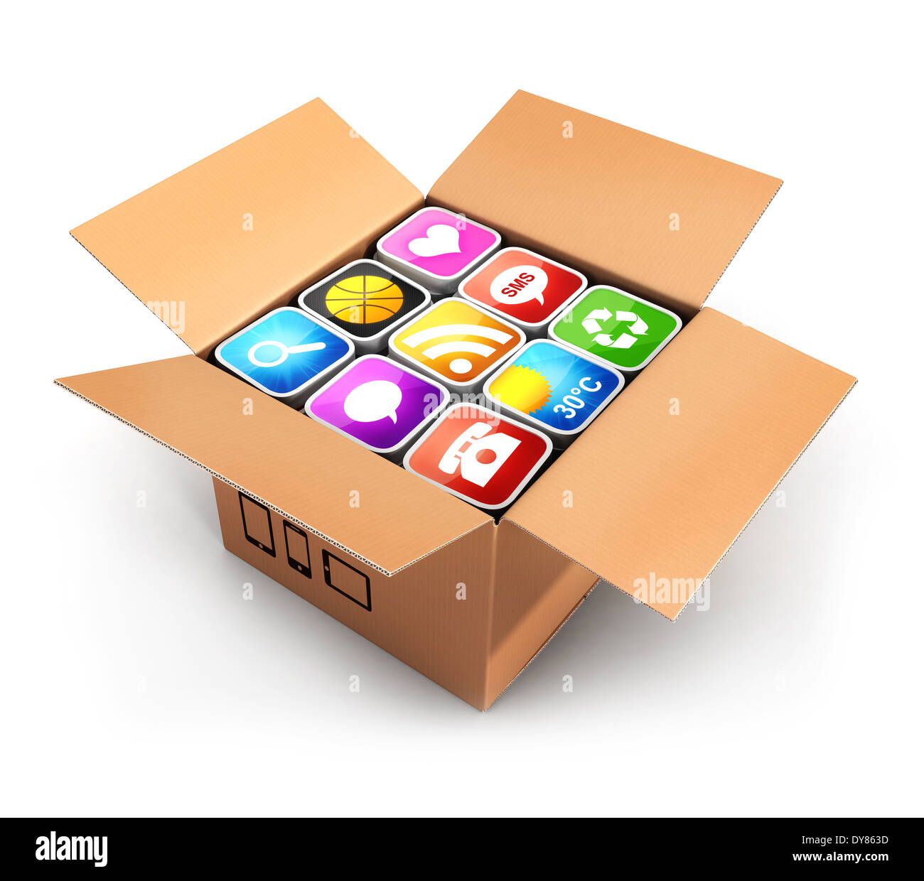 3d box with applications, isolated white background, 3d image Stock Photo