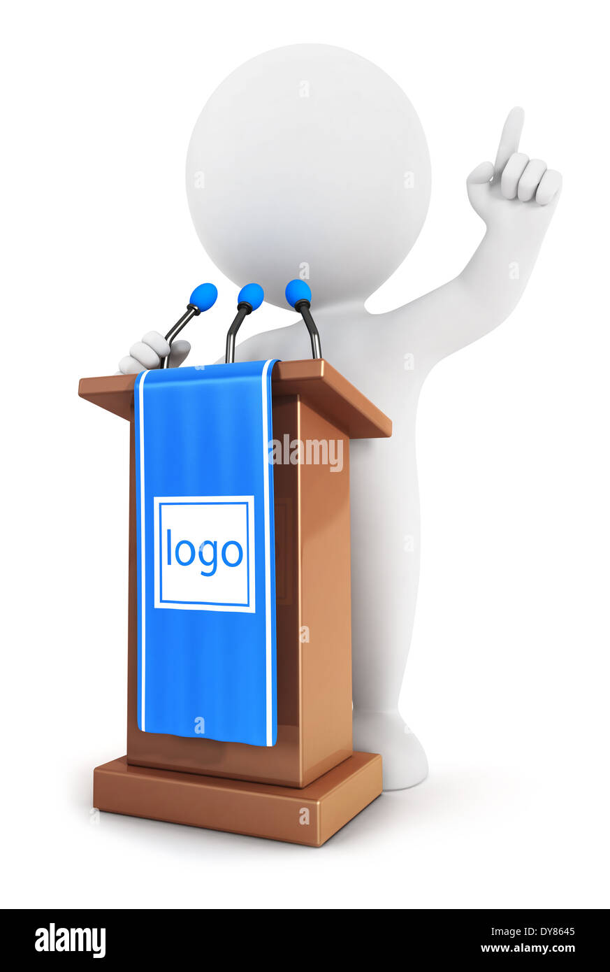 3d white people makes a speech, isolated white background, 3d image Stock Photo