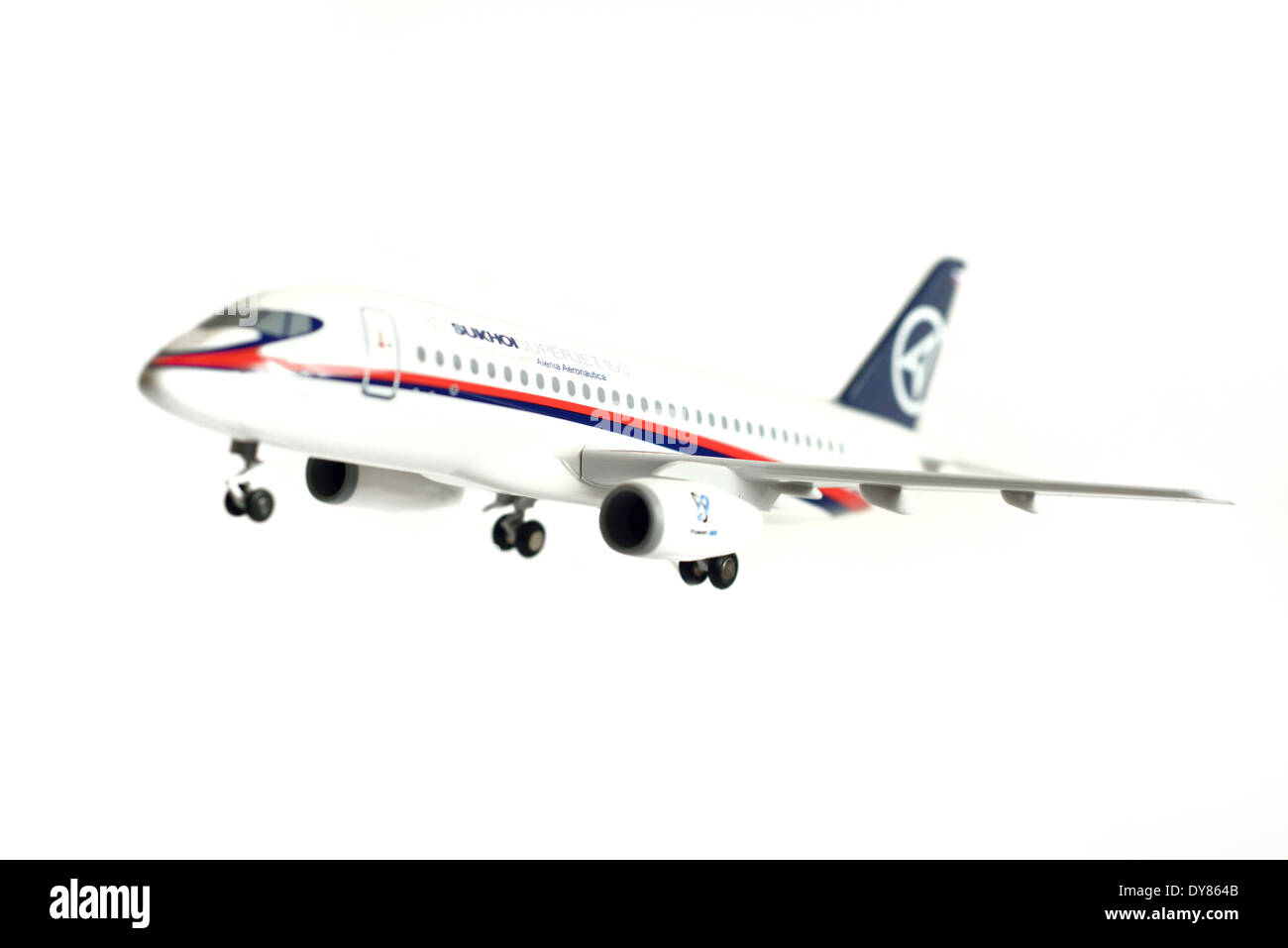 scale model 1:100 of Sukhoi Superjet 100 - Stock Image
