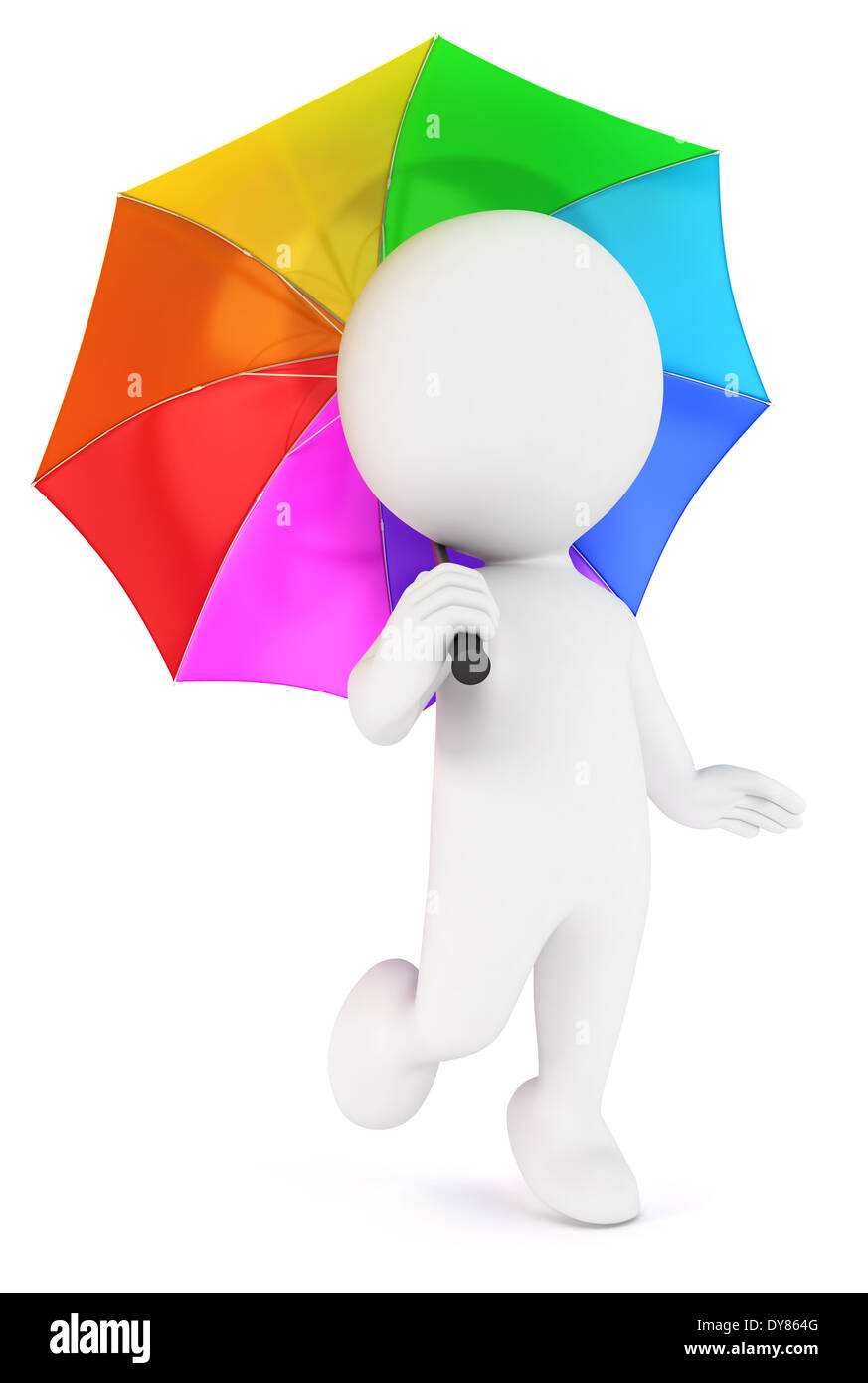 3d white people multicolored umbrella, isolated white background, 3d image Stock Photo