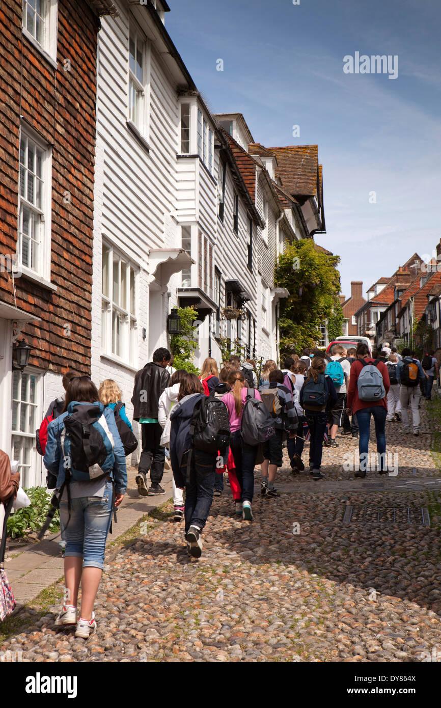 UK, England, East Sussex, Rye, party of French schoolchildren walking up Mermaid Street - Stock Image