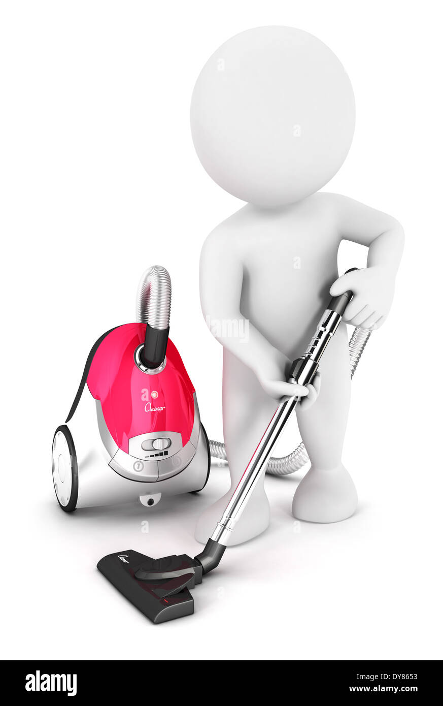 3d white people uses vacuum cleaner, isolated white background, 3d image Stock Photo