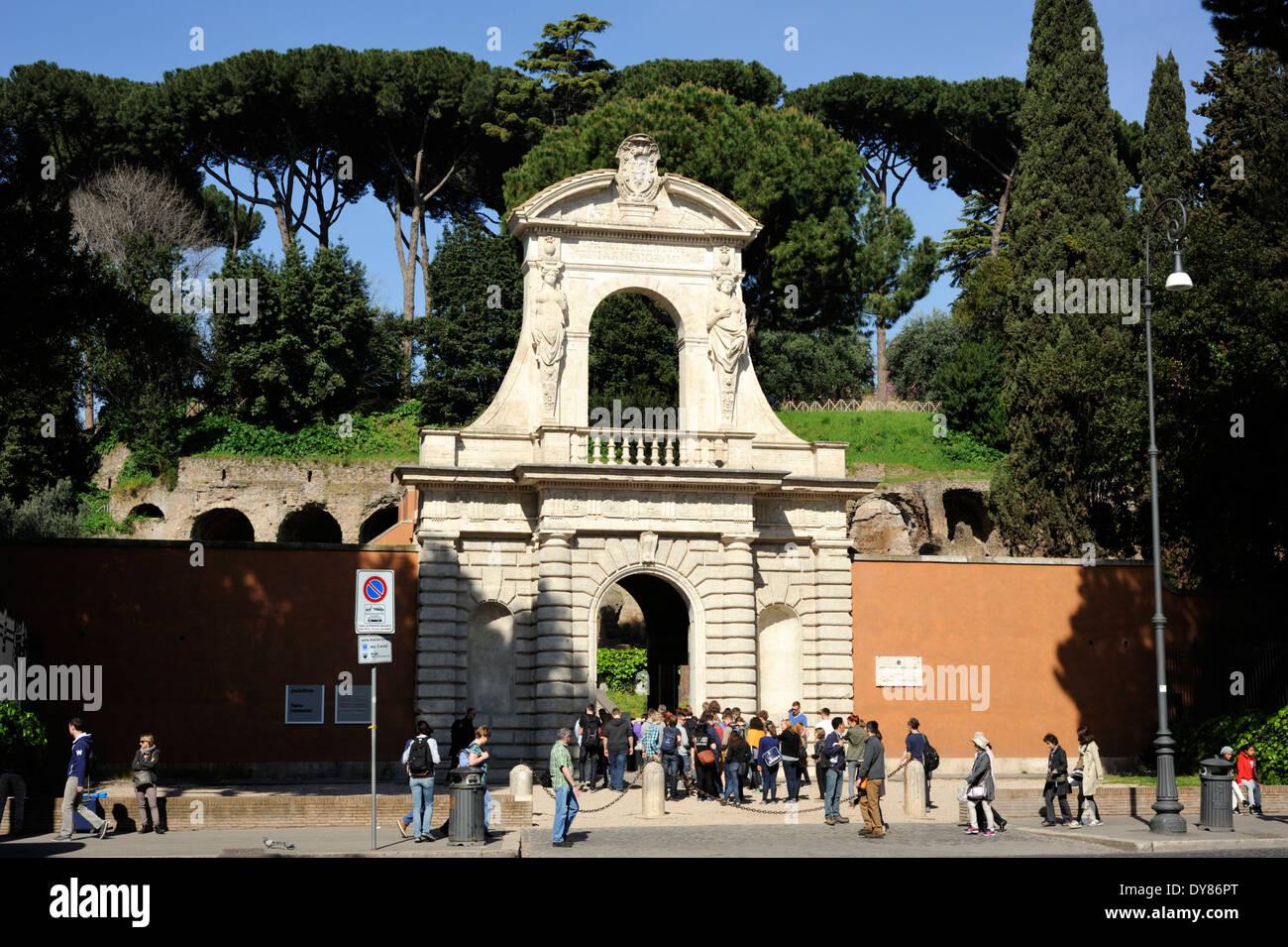 italy, rome, palatine hill, main entrance gate - Stock Image