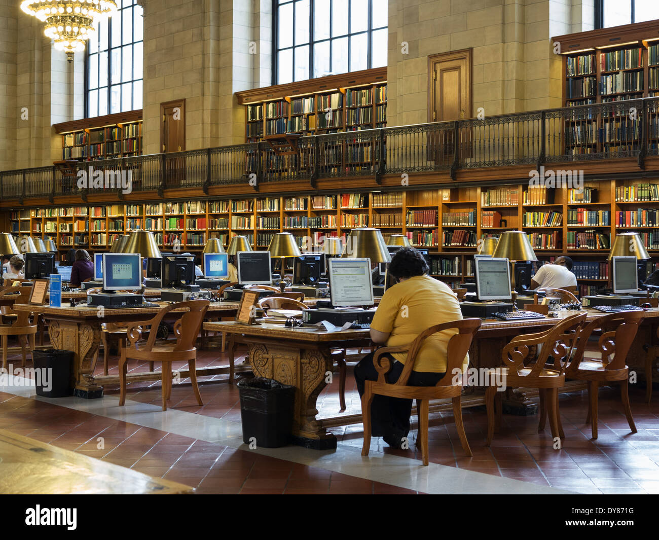 Computer terminals in The Reading Room New York Public Library New York USA - Stock Image