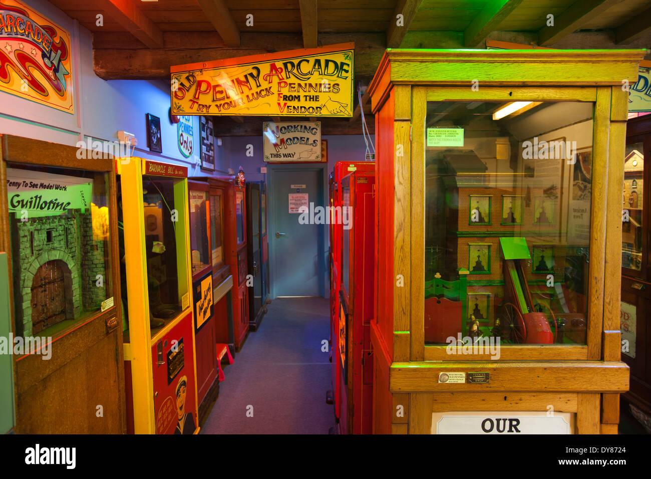 UK, England, East Sussex, Rye, Heritage Centre, vintage end of pier penny arcade games - Stock Image