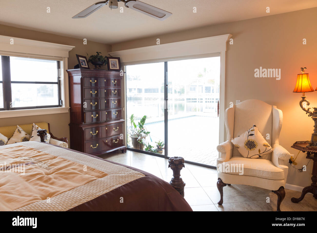 Cozy Showcase Residential Bedroom With Sliding Glass Doors Usa