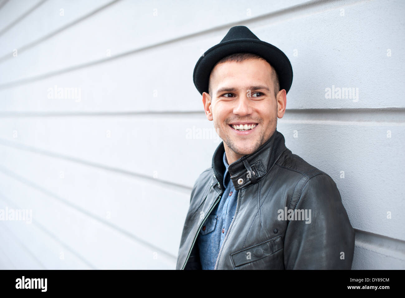 Young man with hat - Stock Image